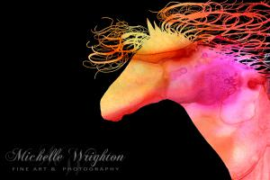 Colourful Abstract Wild Horse Orange, Yellow and Pink Silhouette