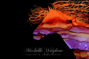 Colourful Abstract Wild Horse Silhouette In Purple And Orange