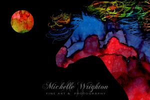Colourful Abstract Full Moon Wild Horse