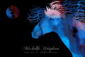 Abstract Wild Horse And Full Moon